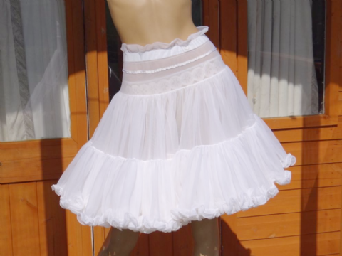 "VINTAGE DOUBLE LAYERED 3 TIERED SEE THRU NYLON/CHIFFON ""WEDDING"" PETTICOAT"